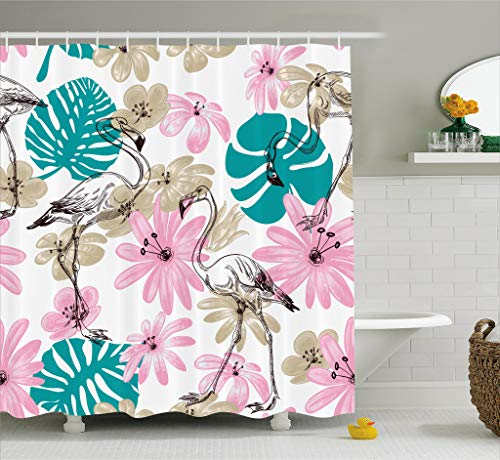 Ambesonne Nautical Decor Collection, Flamingo and Flowers Exotic Garden Birds Animal Blooms Leaves Pattern, Polyester Fabric Bathroom Shower Curtain, 84 Inches Extra Long, Dark Turquoise ()