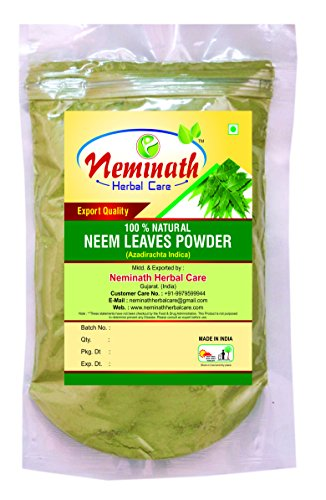 100g New 100% Natural Neem Leaves (AZADIRACHTA INDICA) Powder for PIMPLE FREE CLEAR SKIN NATURALLY by Neminath Herbal Care (100 (Leaf Effect)