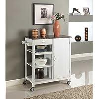 Kings Brand White Finish Wood & Marble Finish Top Kitchen Storage Cabinet Cart