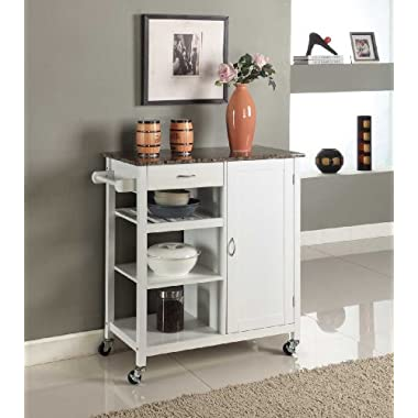 Kings Brand White Finish Wood & Marble Finish Top Kitchen Storage Cabinet Cart