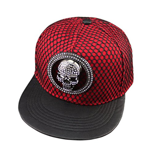 (Kafeimali Men's Women's Hip-hop Hat Metal Skull Baseball Caps Sports Sun Hats (Red))