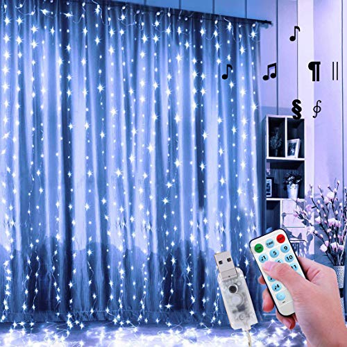 24HOCL Curtain String Lights, 8 Lightning Modes USB Powered Fairy Lights String with Sound Activated & Timer Function…