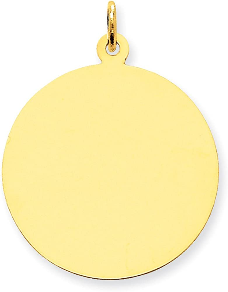 Engravable Disc Charm Pendant in 14K Gold
