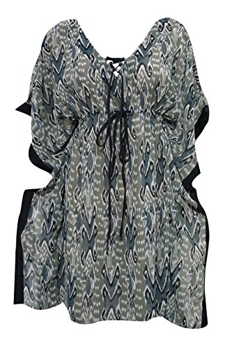 womans-lace-up-kaftan-dress-ikat-printed-beach-coverup-caftan-top-m