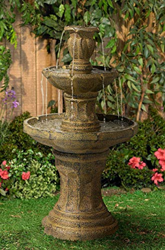 "John Timberland Tuscan Garden Classic Outdoor Floor Water Fountain 41 1/2"" High 3 Tier for Yard Garden Patio Deck Home"