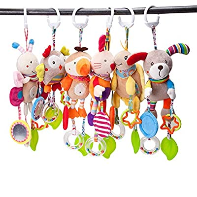 Hankyky Baby Toy Soft Hanging Rattle Crinkle Squeaky Learning Toy Plush Animal C-Clip Ring Infant Newborn Stroller Car Seat Crib Travel Activity Wind Chimes Hanging Toys for Boys Girls: Home & Kitchen