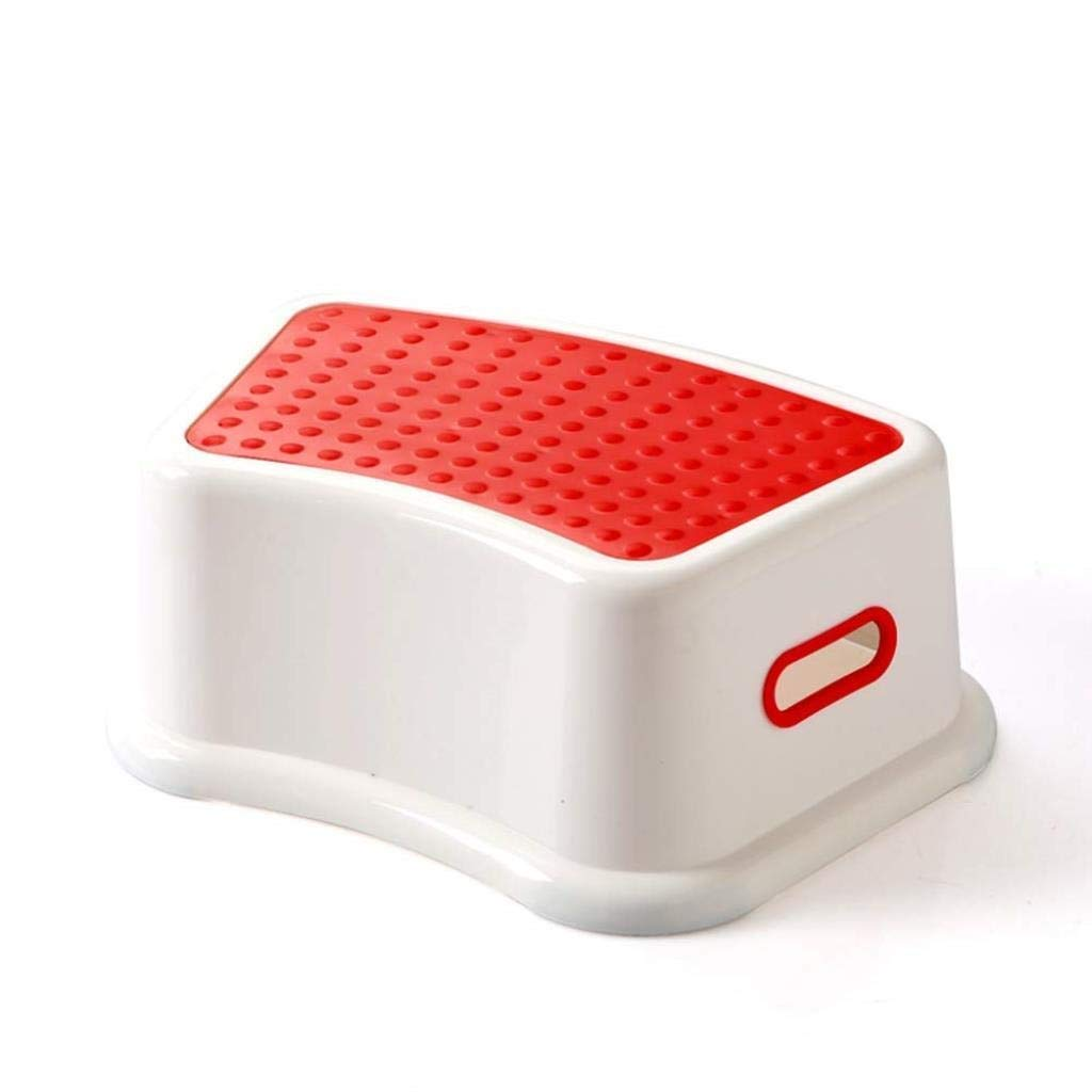 Thickening Children's Plastic Stools Hand Wash Pad Foot Non-Slip Climbing Step Ladder Multifunction Household Creative (Color : Red)