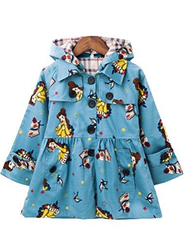 (Mallimoda Girl's Hooded Trench Coat Jacket Dress Windbreaker Outwear Blue Flower 5-6 Years)