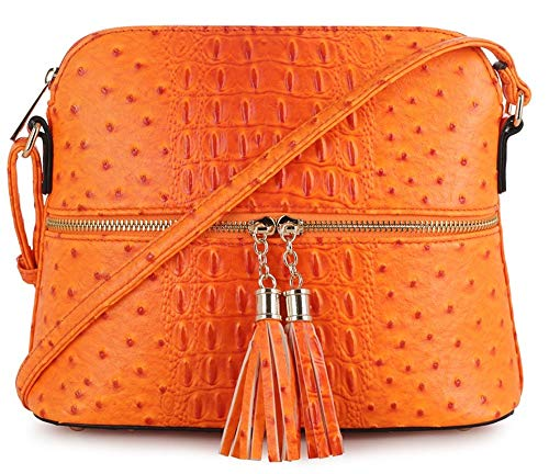 (SG SUGU Crocodile Pattern Lightweight Medium Dome Crossbody Bag with Tassel | CR )