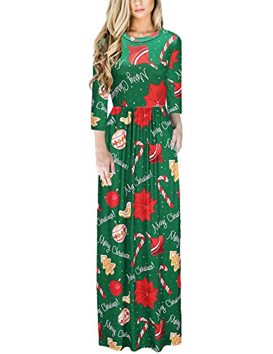 Ruiyige Women's Christmas Dress Xmas Gift Print Long Maxi -