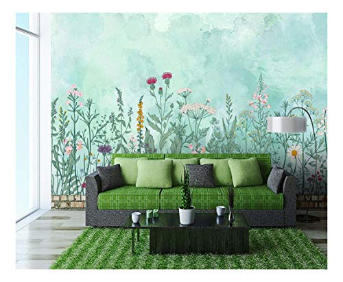 Large Wall Mural Retro Style Flowers and Plants Vinyl Wallpaper Removable Wall Decor