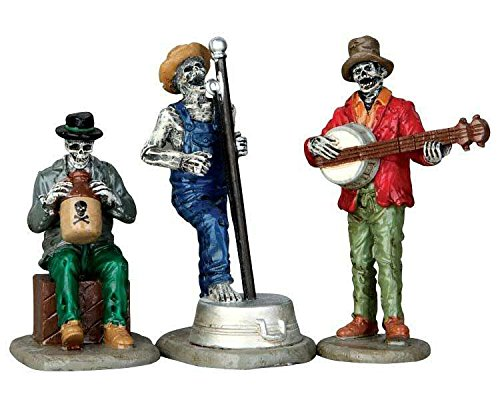 Lemax Spooky Town Jeepers Creepers Jug Band, Set of 3 (Skeleton Playing Banjo)