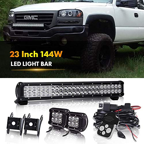 TURBOSII 23IN-144W-WIRING-RM LED Light Bar Flood and Spot Combo Beam Work Light for Van Camper Wagon Pickup Atv Ute Suv Boat 4 x 4 Jeep Off-road Plus Wiring Harness Kit - Control Remote Car Gator