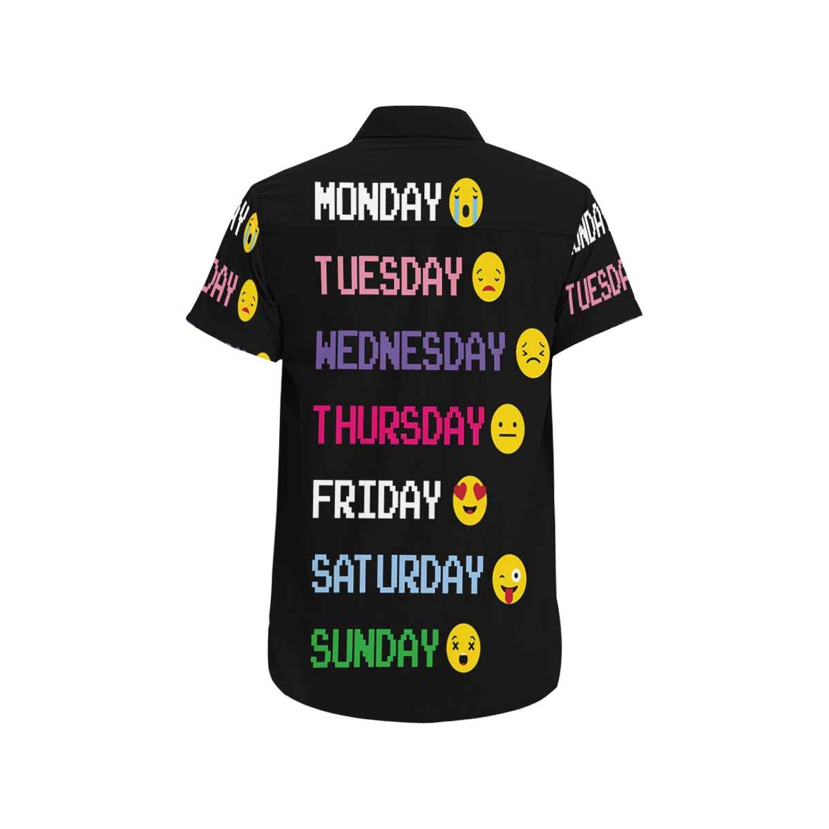 InterestPrint Button Up Monaday to Sunday Emoticon Short Sleeve Regular Fit