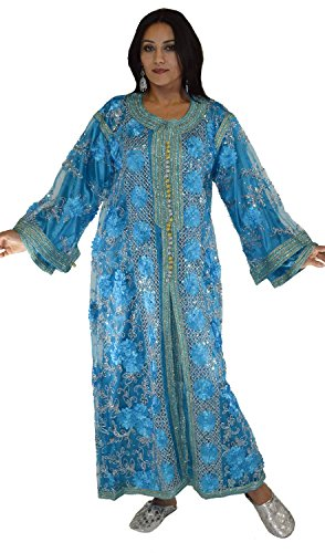 Moroccan Caftans Wedding Gown Handmade 2 Pieces Embroidered Fits SMALL to LARGE by Moroccan Caftans