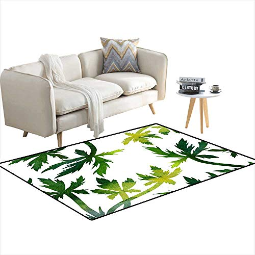 Extra Large Area Rug Floral Composition Plants anleaves 48