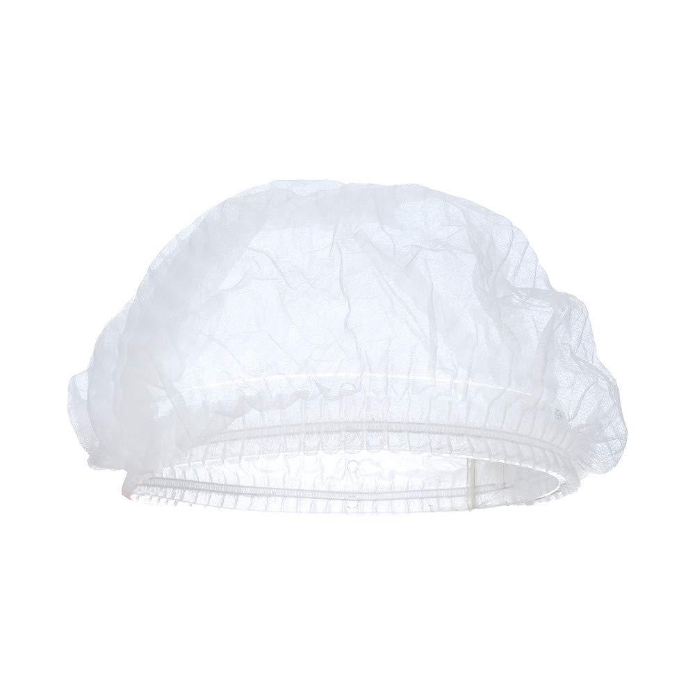 Shower Cap Disposable Waterproof Bathing Salon Hair Cap 100 Pcs Set Elastic Thick Bath Cap for SPA Salon Home & Hotel Use (White)