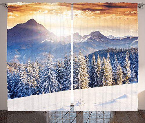 Lunarable Christmas Curtains, Winter Wonderland Snowfall Xmas December Fairytale Cold Scenic Shot, Living Room Bedroom Window Drapes 2 Panel Set, 108 W X 96 L Inches, Amber White Pale (Winter Wonderland Backdrop Ideas)