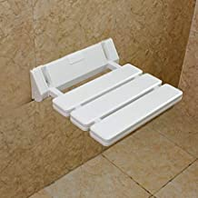 YaeKoo Wall-mounted Drop-leaf stool, Foldable Shower Seating Chair, Folding Bath Seat-White