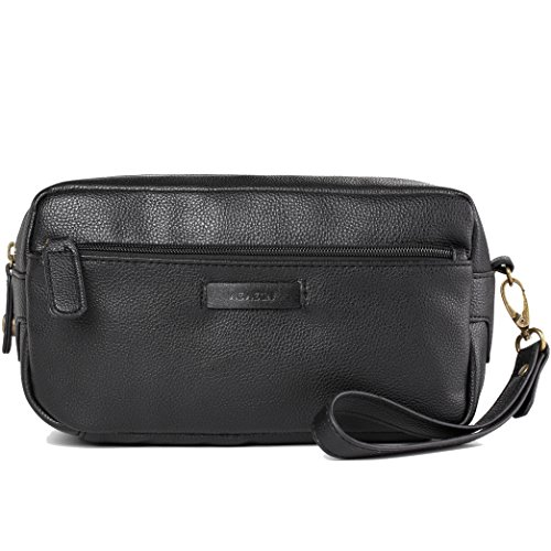 Leather Travel Toiletry Bag Dopp Shave Kit for Men and Women