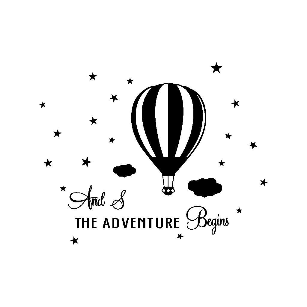 Gray Alisy Wall Stickers for Kids Hot Air Balloon Wall Sticker The Adventure Begins Home Decor Wall Sticker Decal Bedroom Vinyl Art Mural