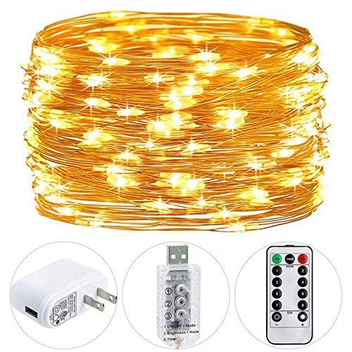 HSicily Fairy Lights Plug in, 8 Modes 33ft 100 LED USB String Lights with Adapter Remote Timer Decorative Lights for Bedroom Patio Christmas Wedding Party Dorm Indoor Outdoor