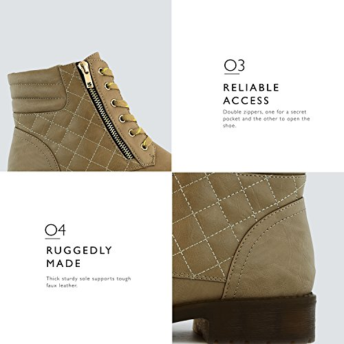Card Boots Exclusive Credit Combat Pocket Ankle Beige High Premium Military DailyShoes Women's Buckle Up Pu wqxv8SX8