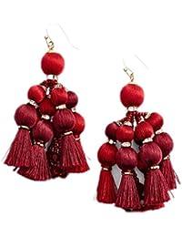 Women's Pretty Poms Tassel Statement Earrings, Sumac Red