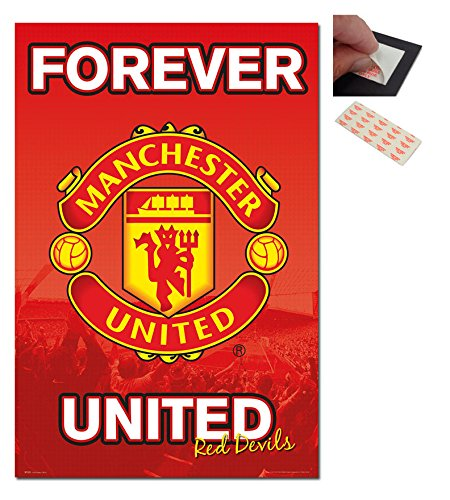 bundle-2-items-manchester-united-forever-poster-915-x-61cms-36-x-24-inches-and-a-set-of-4-reposition