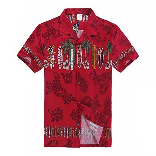 Palm Wave Men's Hawaiian Shirt Aloha Shirt 2XL Red Surf Boards