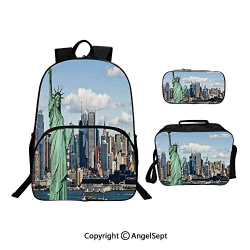 Cute Kids Toddler School Waterproof 3D Cartoon 15.7inches, of Liberty in NYC Harbor Urban City Print Famous Cultural Landmark Picture Mint Blue,With Lunch Bag Pencil Bag Three-piece