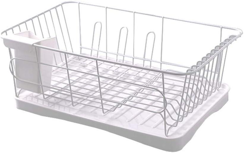 YZH Estante de desagüe de la Cocina del hogar con diseño de Agua Corriente, vajilla de Hierro Forjado, diseño en Capas, Conveniente e higiénico (Color: Blanco)