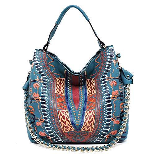 Teal chain with crossbody and strap bag printed soft shoulder hobo detail Boho roomy 6p4w76