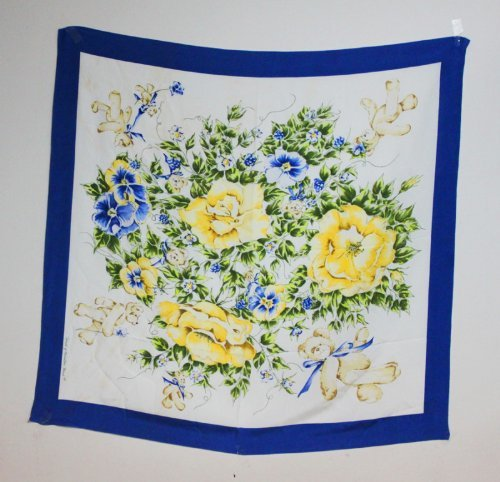Teddy Bear Womans Blue Silk Scarf Floral Design #905 World of Miniature Bears