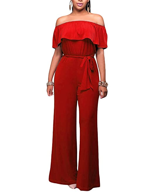 Mujer Mono Jumpsuits Sin Tirantes Bodysuit Cintura alta Pantalones Largos para Fiesta Playa Rojo M