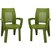 Supreme Villa Esquire Plastic Chair for Home and Office (Mehandi Green) Set of 2