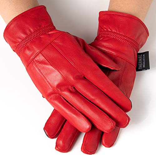 - Alpine Swiss Womens Touch Screen Gloves Leather Phone Texting Glove Thermal Warm RED L