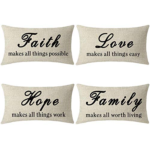 ASTIHN Inspirational Faith Love Hope Family Make All Things Possible Easy Work Living Cotton Throw Pillow Cover Cushion Case Home Chair Office Decorative Rectangle 12 X 20 inches