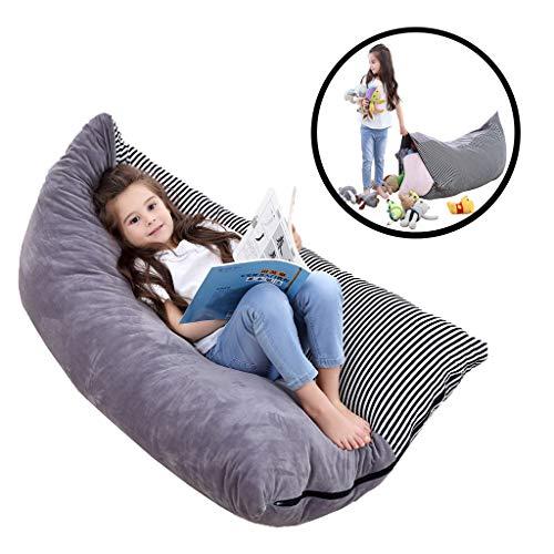 (Soft Stuffed Animal Bean Bag Storage Stuffie Seat-Stuffed Animal Storage Bean Bag Chair for Kids Teens and Adults 26inch Large 100% Premium Velvet (Grey, 26Inch))