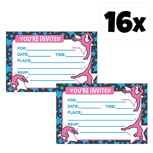 Gymnastics Party Invitation Bundle Sets (16 Pack (Gymnastics Birthday Party Invitation)