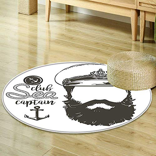 13800 Rug (Round Area RugPortrait of a Faceless Captain with Hat and Beard Seaman Character Artistic IllustrationLiving Dinning Room & Bedroom Rugs)