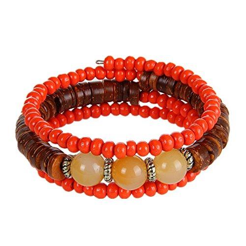 Coolest Homemade Costumes Baby (G&T Handmade Wooden Beads Retro Bracelet Many Laps Elastic Agate Bracelet Jewelry Gift(C6))