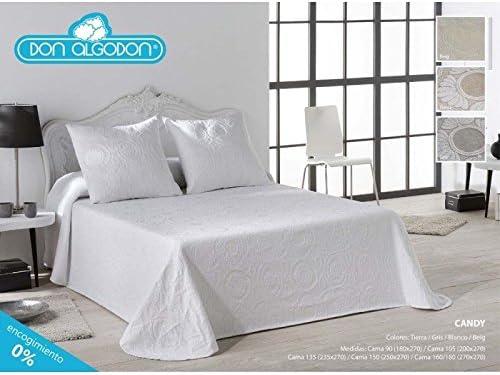 Don Algodón.- Colcha Candy Blanca para cama de 150 (250x270 cm): Amazon.es: Hogar
