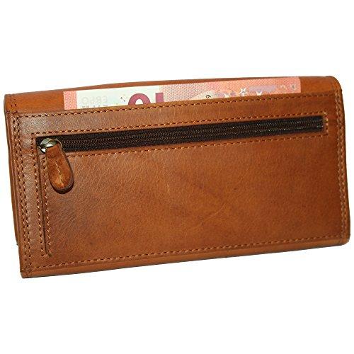 Geldbörse Damen Leder Weihnachtsgeschenk Frauen Portemonnaie Geldbeutel Qualität Hill Burry Stern braun OYEZUfeIi