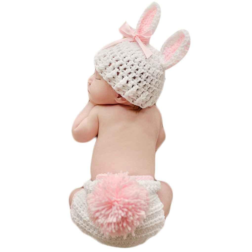 Royalr Abbigliamento bambino sveglio del Crochet appena nato del bambino puntelli foto Costume bambino Fotografia Puntelli Coniglio Fiore neonata Abiti Set