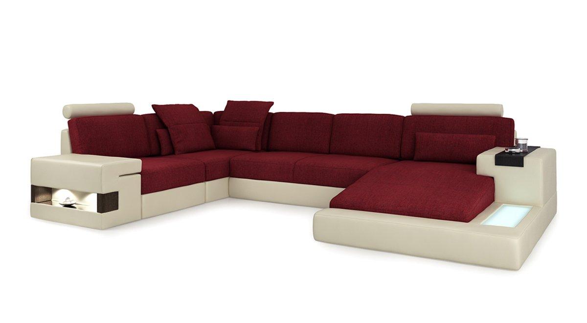 Diseño Sofá piel Salón paisaje XXL + Plástico Forma De U ...