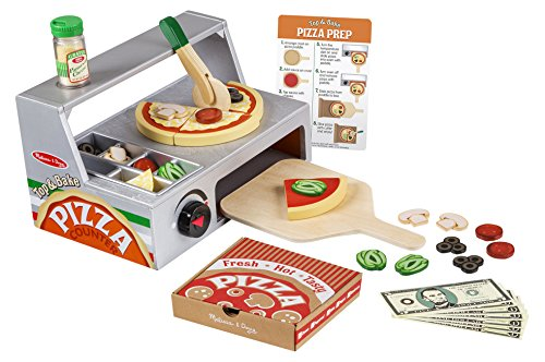 Melissa & Doug Top Bake Wooden Pizza Counter Play Food Set