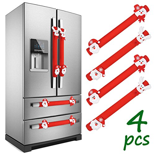 LimBridge Set of 4 Christmas Decorations 3D Fleece Refrigerator Door Handle Cover, for Double Door Fridge, Kitchen Microwave Dishwasher, Red/White