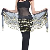 REINDEAR Vogue Style Chiffon Dangling Gold Coins Belly Dance Hip Scarf US Seller (Black)