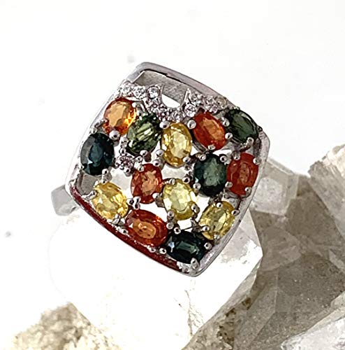 (Sz 8.25, Genuine Vibrant Orange SONGEA SAPPHIRE (14) Natural Gemstones and AAA Cubic Zirconia, 14k White GOLD and 925 Sterling Silver, Square Ring Fine Jewelry.)